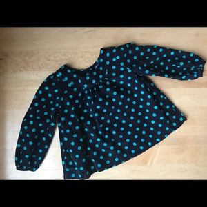 Baby Gap - Corduroy top with turquoise dots